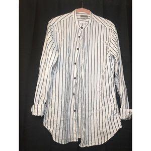 Zara Man White Striped Button Down